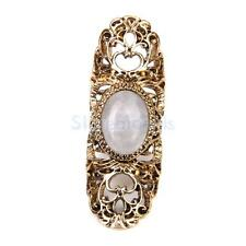 Punk Statement Hollow Flower Armor Knuckle Hinged Long Full Finger Ring