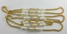 """Vintage Sarah Coventry Faux Pearl Necklace 50"""" Long Chain Gold Tone Spiral"""