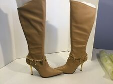 "Baby Phat 3 3/4"" Camel Knee Stretch Boots w Fancy Heels Chain/charms 8 M"
