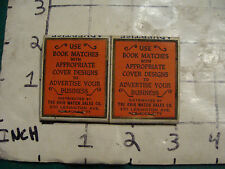vintage Matches 1930's or 40's: 2 OHIO BOOK MATCHES advertise on, UNUSED