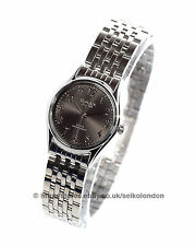 Omax Ladies Black Dial Watch, Silver Finish, Seiko (Japan) Movt. RRP £49.99
