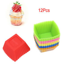 New 12 Pcs/Set Food Grade Silicone Mini Square Reusable Cupcake and Muffin Cup