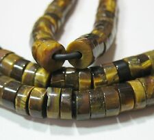 """Golden Brown Tigers Eye 10mm Heishi Rondelle Beads Large 2mm Hole 8"""""""