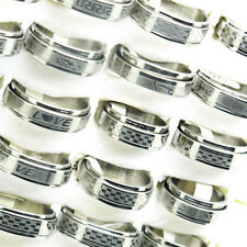 Wholesale Lots 10Pcs Mixed Size Double Layer Spin Icon Stainless Steel Rings T22