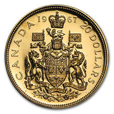 1967 Canadian $20 Gold Confederation Coin - Proof or BU - SKU #8904