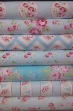 7 Fat Quarters Bundle Tanya Whelan RAMBLING ROSE Blue Fabrics ~ 1.75 yards total