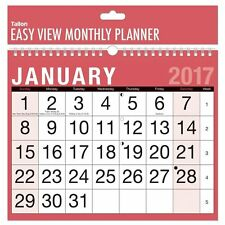 2017 A4 Easy Month To View Spiral Bound Wall Planner Calendar - home office work