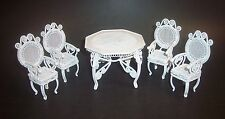 5 PIECE DOLLHOUSE TABLE AND 4 CHAIRS WHITE METAL WIRE INTRICATE DESIGN