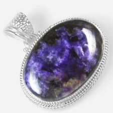 11.22 Gram 925 Sterling Silver Natural Hand Made Charoite Pendant Design Jewelry
