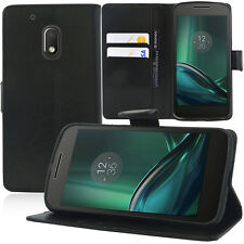 Etui Coque Housse Portefeuille Support Video NOIR Motorola Moto G4 Play 5.0""