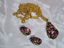 New JOAN RIVERS Rose Pink Purple Egg Crystal Pendant Necklace, Matching Earrings