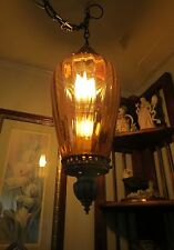 VINTAGE HANGING AMBER BROWN GLASS GLOBE & BRASS SWAG LAMP 60s - 70s