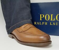 Ralph Lauren Singleton Tan Burnished Leather Penny Loafer Shoes 7.5 D USA