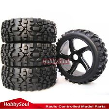 4pcs New RC 1:8 Baja Buggy Badlands All Terrain Tires Tryes W/ Hex 17mm Wheels