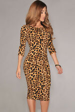 LADIES LEOPARD PRINT BODYCON MIDI DRESS STRETCH WIGGLE CELEB SIZE 10 & 12