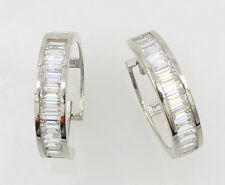 14K White Gold 4mm Thick Baguette Set Polished Hoop Huggies Earrings 15mm 9/16""