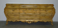 Vintage French Provincial Bombe Heavily Carved Long Low Triple Dresser Credenza