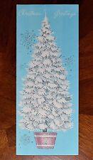 """Vintage UNUSED Christmas Card SILVERED Pollyanna POTTED TREE BLUE Mid-Century 8"""""""