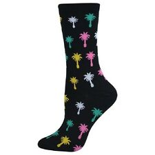 K. Bell Women's Socks COLORFUL PALM TREES on Black Crew Black Sock Size: 9-11