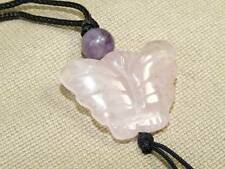 Vintage Hand Carved Rose Quarts Genstone Butterfly Pendant Necklace