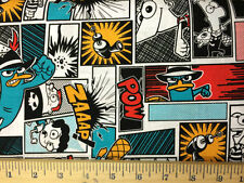 "Phineas and Ferb Agent P Comic Patch 100% cotton 43"" fabric by the yard 36"""