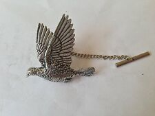 B34 Woodpigeon Tie Pin With Chain english pewter handmade in sheffield