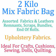2 Kilo Bag Assorted Upholstery Fabric Remnants Scrap End Roll Bundle Craft Dolls