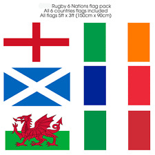 2017 Rugby 6 Nations Flag pack 5ftx3ft PolyesterFabric  All Six Nations flag inc