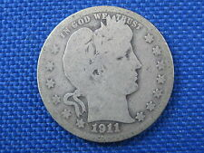 1911 D BARBER 25 CENT US QUARTER SILVER COIN