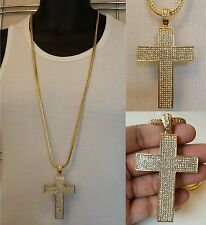 Mens Iced Out 14K Yellow Gold Finish Cross w/ 36 inches Franco Chain Necklace
