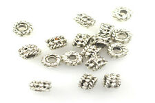 100 ANTIQUE SILVER PLATED BEADED RONDELLE BEADS 4MM