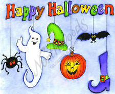 Rubber Stamp Happy Halloween With Hanging Spider Hat Witch Boot Northwoods P9583