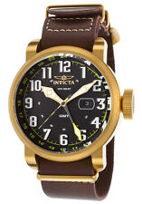 New Mens Invicta 18888 Aviator Brown Leather Strap Watch