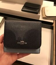 NWT Coach GEO Colorblock Small Trifold Wallet F57825 - Midnight Bluemulti