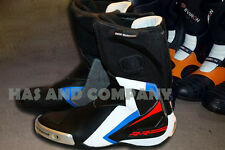 BMW Leon Haslam Motorcycle Leather Racing Gear Boot with Full Protectors