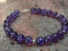 14kt Yellow Gold and 6mm Genuine Amethyst Bracelet 8""