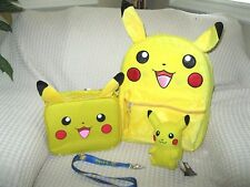 "Pokemon Pikachu 16"" with Ears Backpack,Lunchbox w/Ears,Plush,&Lanyard Combo-New"