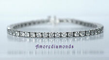 "6 ct F VS2 diamond 4 prong tennis bracelet 7"" & 6.75 ct 9"" anklet 14k white gold"