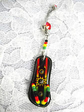 NEW 3 YIN YAN SUN ON RASTA COLOR FLIP FLOP SANDAL ON RED CZ BELLY BUTTON RING