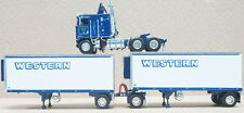 WESTERN KENWORTH K100 W/WHITE DOUBLE PUP TRAILERS 1/64 DCP DIECAST 33493