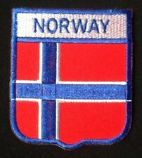 NORWAY NORWEGIAN SCANDINAVIA NATIONAL COUNTRY FLAG BADGE IRON SEW ON PATCH CREST