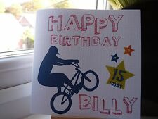 Handmade Personalised Boys Male Birthday BMX Card 12th 13th 14th 15th 16th Son