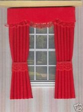 DOLLS HOUSE CURTAINS RED WITH LACE