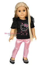 SPARKLE KITTY TOP + PINK LEGGINGS 2pc for 18 inch American Girl Doll Clothes