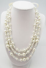 "CC 18"" to 30"" WHITE FAUX PEARL CLEAR CRYSTAL 3 STRAND RIBBON SILVER NECKLACE NEW"
