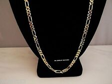 "24K GOLD PLATED NEW24"" SS 4MM FIGARO MENS CUSTOM CHAIN NECKLACE GUARANTEED SHINY"