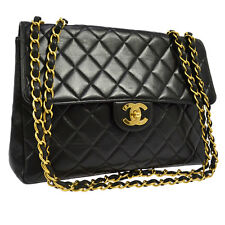 Auth CHANEL Quilted CC Jumbo Double Chain Shoulder Bag Black Leather VTG AK10547
