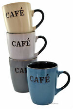 Set 4 Assorted Color Stoneware Cup Vintage-Style French Cafe Coffee Latte Mugs