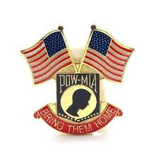 Wholesale Lot of 12 POW MIA Shield With 2 USA Flags Lapel Hat Pin Marines PPM483