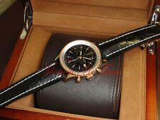 Breitling Navitimer World 18kt Rose Gold Black Dial Black Strap